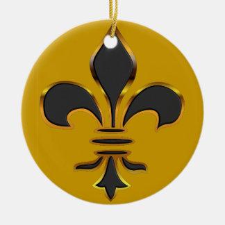 Black and Gold Fleur de lis  Ornament
