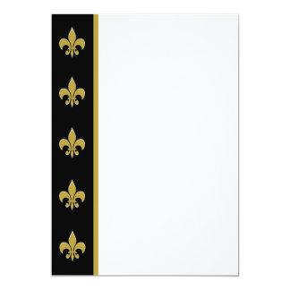 Black and Gold Fleur de Lis Panel Invitation