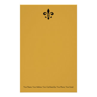 Black and Gold  Fleur De Lis Stationery