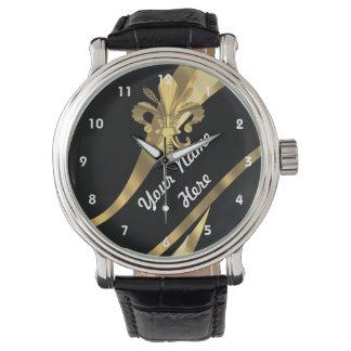 Black and gold fleur de lys personalized watch