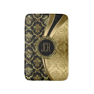 Black And Gold Floral Damasks Bath Mat