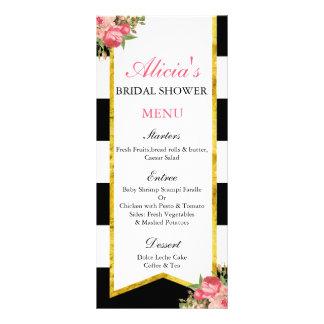 Black and Gold Floral Menu Cards Rack Cards