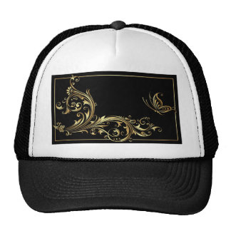 BLACK AND GOLD FLORAL PATTERN HATS