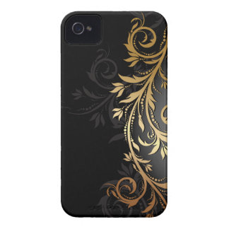 Black and Gold Floral Vine iPhone 4 Covers