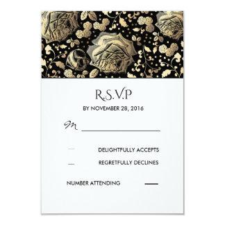 """Black and Gold Floral Vintage Wedding RSVP 3.5"""" X 5"""" Invitation Card"""
