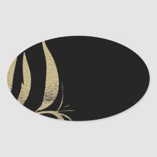 Black and Gold Flourish Pattern Designs Oval Sticker