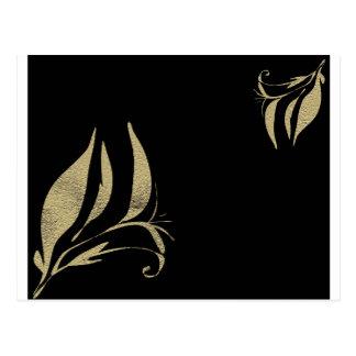 Black and Gold Flourish Pattern Designs Postcard