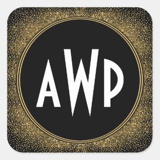 Black and Gold Foil Art Deco Wedding Favors Square Sticker