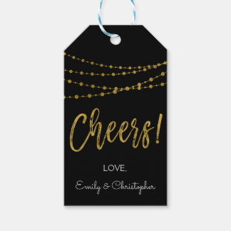 Black and Gold Foil Cheers Gift Tag