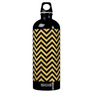 Black and Gold Foil Zigzag Stripes Chevron Pattern