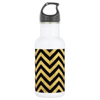 Black and Gold Foil Zigzag Stripes Chevron Pattern 532 Ml Water Bottle