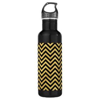 Black and Gold Foil Zigzag Stripes Chevron Pattern 710 Ml Water Bottle
