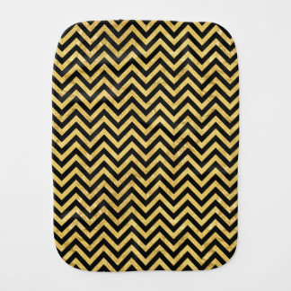 Black and Gold Foil Zigzag Stripes Chevron Pattern Baby Burp Cloths
