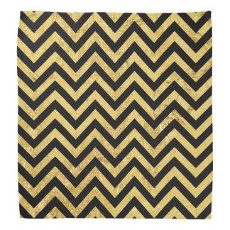 Black and Gold Foil Zigzag Stripes Chevron Pattern Bandana