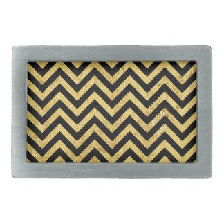 Black and Gold Foil Zigzag Stripes Chevron Pattern Belt Buckles