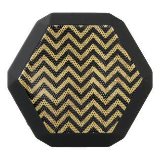 Black and Gold Foil Zigzag Stripes Chevron Pattern Black Bluetooth Speaker
