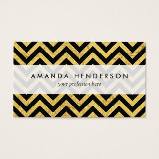Black and Gold Foil Zigzag Stripes Chevron Pattern Business Card
