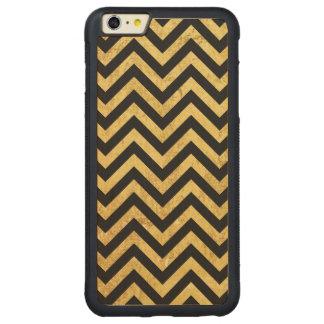 Black and Gold Foil Zigzag Stripes Chevron Pattern Carved Maple iPhone 6 Plus Bumper Case