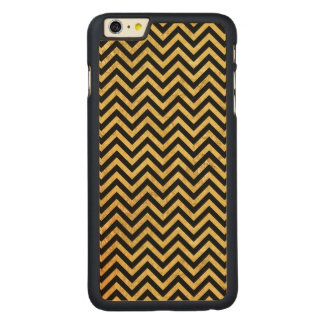 Black and Gold Foil Zigzag Stripes Chevron Pattern Carved Maple iPhone 6 Plus Case