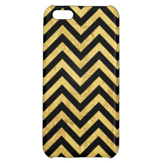 Black and Gold Foil Zigzag Stripes Chevron Pattern Case For iPhone 5C