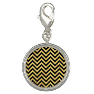 Black and Gold Foil Zigzag Stripes Chevron Pattern Charms
