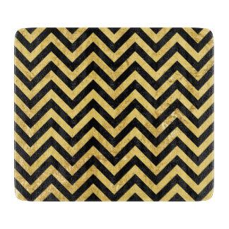 Black and Gold Foil Zigzag Stripes Chevron Pattern Cutting Board