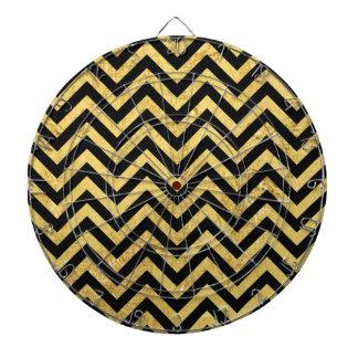 Black and Gold Foil Zigzag Stripes Chevron Pattern Dartboard With Darts