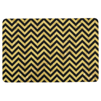 Black and Gold Foil Zigzag Stripes Chevron Pattern Floor Mat