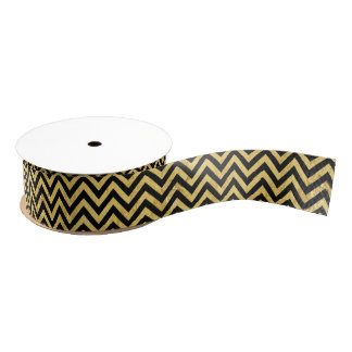 Black and Gold Foil Zigzag Stripes Chevron Pattern Grosgrain Ribbon
