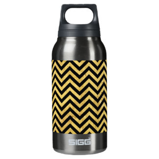 Black and Gold Foil Zigzag Stripes Chevron Pattern Insulated Water Bottle
