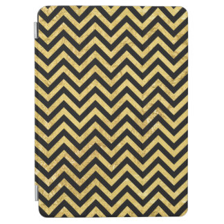 Black and Gold Foil Zigzag Stripes Chevron Pattern iPad Air Cover