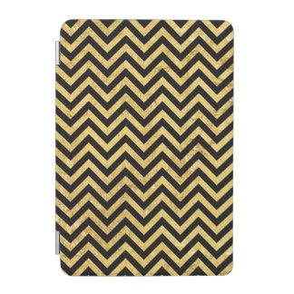 Black and Gold Foil Zigzag Stripes Chevron Pattern iPad Mini Cover