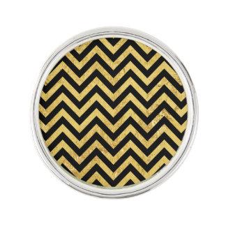 Black and Gold Foil Zigzag Stripes Chevron Pattern Lapel Pin