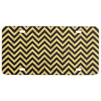 Black and Gold Foil Zigzag Stripes Chevron Pattern License Plate