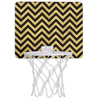 Black and Gold Foil Zigzag Stripes Chevron Pattern Mini Basketball Hoop
