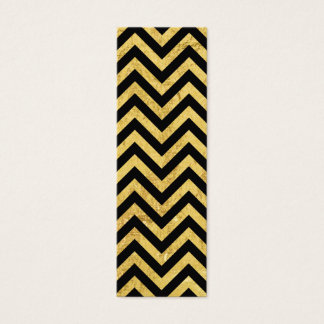 Black and Gold Foil Zigzag Stripes Chevron Pattern Mini Business Card
