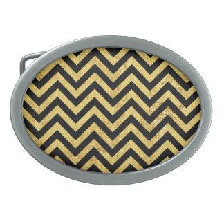 Black and Gold Foil Zigzag Stripes Chevron Pattern Oval Belt Buckles