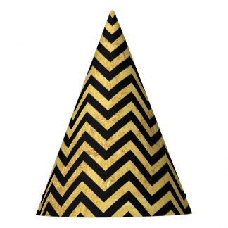 Black and Gold Foil Zigzag Stripes Chevron Pattern Party Hat