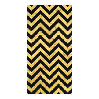 Black and Gold Foil Zigzag Stripes Chevron Pattern Photo Greeting Card