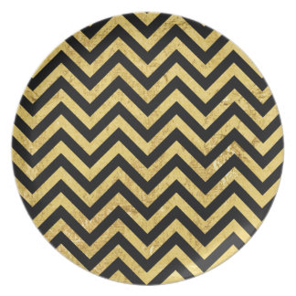 Black and Gold Foil Zigzag Stripes Chevron Pattern Plate