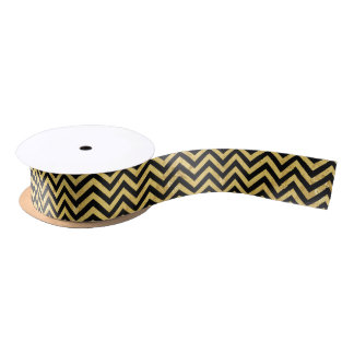 Black and Gold Foil Zigzag Stripes Chevron Pattern Satin Ribbon