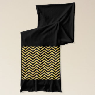 Black and Gold Foil Zigzag Stripes Chevron Pattern Scarf