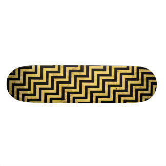 Black and Gold Foil Zigzag Stripes Chevron Pattern Skateboards