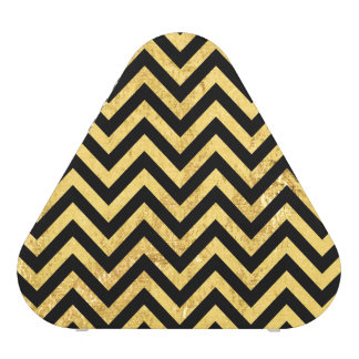 Black and Gold Foil Zigzag Stripes Chevron Pattern Speaker
