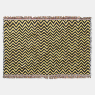 Black and Gold Foil Zigzag Stripes Chevron Pattern Throw Blanket