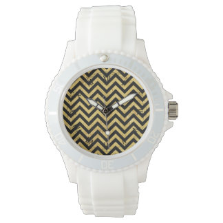 Black and Gold Foil Zigzag Stripes Chevron Pattern Watch