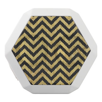 Black and Gold Foil Zigzag Stripes Chevron Pattern White Bluetooth Speaker