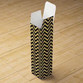 Black and Gold Foil Zigzag Stripes Chevron Pattern Wine Box