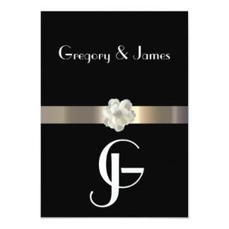 "Black and Gold Gay/Lesbian Wedding Invitation 5"" X 7"" Invitation Card"