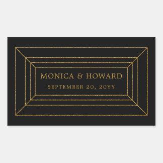 Black and Gold Gemstone Chic Wedding Save the Date Sticker